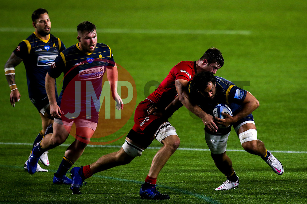 Marco Mama of Worcester Warriors is tackled - Mandatory by-line: Robbie Stephenson/JMP - 30/09/2020 - RUGBY - Sixways Stadium - Worcester, England - Worcester Warriors v Saracens - Gallagher Premiership Rugby