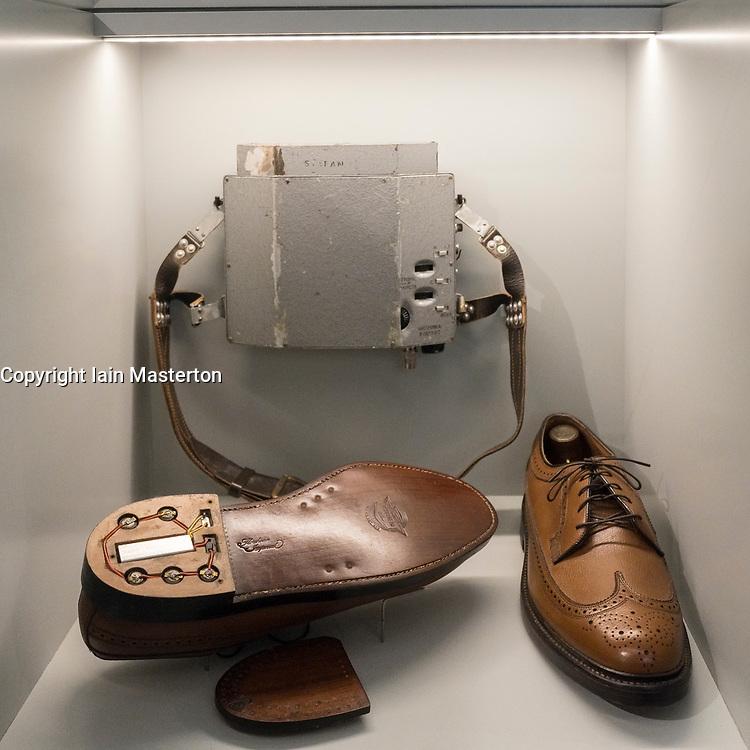 Spying bugs hidden in heel of shoes on display at German Spy Museum in Berlin Germany