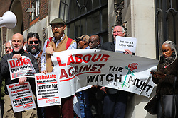April 25, 2018 - London, London, UK - London, UK. Protesters gather outside Church House in Westminster where a disciplinary hearing for Labour activist Marc Wadsworth over alleged antisemitic comments is taking place. (Credit Image: © Rob Pinney/London News Pictures via ZUMA Wire)