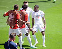 Football - 2021 EUFA European Championships - Finals - Group D - England vs Croatia, Wembley Stadium<br /> <br /> Raheem Sterling of England celebrates scoring his goal with team mates<br /> <br /> Credit : COLORSPORT/Andrew Cowie