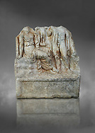 Roman Sebasteion relief  sculpture of an Heroic Couple Aphrodisias Museum, Aphrodisias, Turkey. <br /> <br /> A heroine sits on a rock with one breast bare. In the front of her stands a young hero. Between them a small statue of Aphrodite stands on a support. The subject is a love encounter, but it is not clear which of many possible heroic couple was intended. .<br /> <br /> If you prefer to buy from our ALAMY STOCK LIBRARY page at https://www.alamy.com/portfolio/paul-williams-funkystock/greco-roman-sculptures.html . Type -    Aphrodisias     - into LOWER SEARCH WITHIN GALLERY box - Refine search by adding a subject, place, background colour, museum etc.<br /> <br /> Visit our ROMAN WORLD PHOTO COLLECTIONS for more photos to download or buy as wall art prints https://funkystock.photoshelter.com/gallery-collection/The-Romans-Art-Artefacts-Antiquities-Historic-Sites-Pictures-Images/C0000r2uLJJo9_s0