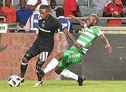 Orlando Pirates player battle for the ball with Jacky Motshegwa  of Bloemfontein Celtic during the; ABSA premiership league at Orlando stadium; Soweto.; <br />Picture: Itumeleng English/ African News Agency /ANA; 04.04.2018