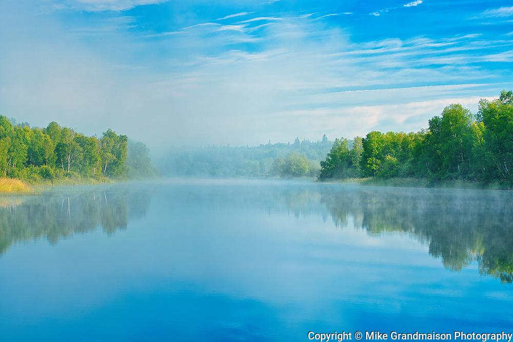 Fog rising on la Riviere Fraser<br />Latulipe<br />Quebec<br />Canada