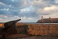 Cannon at Castillo de San Salvador de la Punta and lighthouse, Havana, Cuba