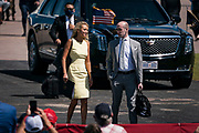 Press Secretary Kayleigh McEnany speaks with Senior Advisor Stephen Miller before President Donald Trump's campaign rally at North Star Aviation in Mankato, Minnesota on Monday, Aug. 17, 2020.