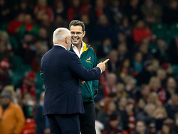 Head Coach Warren Gatland of Wales with Head Coach Rassie Erasmus of South Africa during the pre match warm up<br /> <br /> Photographer Simon King/Replay Images<br /> <br /> Under Armour Series - Wales v South Africa - Saturday 24th November 2018 - Principality Stadium - Cardiff<br /> <br /> World Copyright © Replay Images . All rights reserved. info@replayimages.co.uk - http://replayimages.co.uk