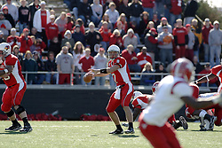 28 October 2006: The Redbird offensive line clears a large area for Luke Drone. Youngstown State turned off over 15,000 fans as the win blew their way, cooling off Illinois State 27-13. Nationally ranked teams Youngstown State Penguins and Illinois State Redbirds competed at Hancock Stadium on the campus of Illinois State University in Normal Illinois.<br />