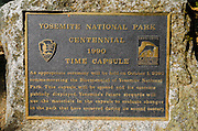 Centennial plaque in Yosemite Village, Yosemite National Park, California USA