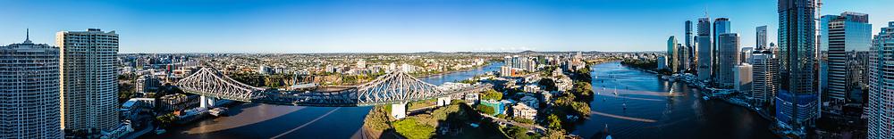 Panoramic aerial view of the Story Bridge over the Brisbane River between Kangaroo Point & New Farm, Brisbane, Queensland, Australia