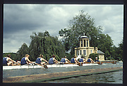 Henley on Thames. United Kingdom. General View GV. of Temple Island as a race passes. 1990 Henley Royal Regatta, Henley Reach, River Thames. 06/07.1990<br /> <br /> [Mandatory Credit; Peter SPURRIER/Intersport Images] 1990 Henley Royal Regatta. Henley. UK