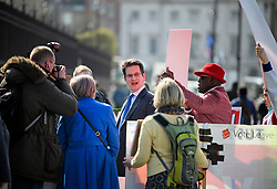 © Licensed to London News Pictures. 26/03/2019. London, UK. STEVE BAKER MP is seen surrounded by media and protestors, outside the House of Parliament in Westminster, London. MPs have passed an amendment which gives Parliament a series of indicative votes on alternatives to Prime Minister Theresa May's Brexit deal. Photo credit: Ben Cawthra/LNP