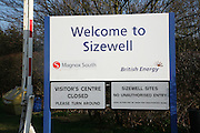 Entrance sign, Sisewell nuclear power station, Suffolk, England