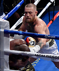 Aug 26,2017.  Las Vegas NV. Conor McGregor talks at a boxing PC after going 10 rounds with Floyd Mayweather Jr Saturday at the T-Mobile arena in Las Vegas.  Floyd Mayweather Jr. took the win by TKO as the fight was stop in the 10th round. This was Floyd's last fight ending it at 50-0 wins..Photos by Gene Blevins/LA DailyNews/SCNG/ZumaPress. (Credit Image: © Gene Blevins via ZUMA Wire)