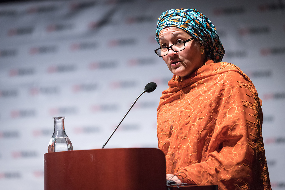 """29 October 2018, Uppsala, Sweden: Amina Mohammed speaks to the ACT Alliance general assembly, during a plenary on """"The role of faith based actors in achieving the 2030 Agenda for Sustainable Development"""". The session included speeches by Amina Mohammed, Deputy Secretary General of the United Nations, Carin Jämtin, Director General of Swedish International Development Cooperation Agency, and Swedish deputy Prime Minister Isabella Löwin. Rev. Dr Martin Junge, General Secretary of the Lutheran World Federation moderated the session."""