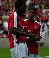 Photo: Tony Oudot/Richard Lane Photography.  Arsenal v Real Madrid. Emirates Cup. 03/08/2008. <br /> Emmanuel Adebayor celebrates his goal for Arsenal with Denilson