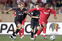 Fotball<br /> Foto: Dppi/Digitalsport<br /> NORWAY ONLY<br /> <br /> UEFA SUPER CUP 2005<br /> <br /> LIVERPOOL FC v CSKA MOSKVA<br /> <br /> 26/08/2005<br /> <br /> FLORENT SINAMA PONGOLLE (LIV) / ALEXEY BEREZUTSKY (CSKA)