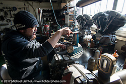 "Koji ""Hammer"" Hamad checks valve springs in his Hammer Sycle / Hardly-Driveable shop in Tsuchiura City, Ibaraki Prefecture, Japan. Thursday December 7, 2017. Photography ©2017 Michael Lichter."