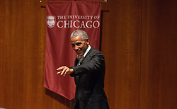 """Former President Barack Obama gestures at a discussion with six Chicago-area students on Monday, April 24, 2017 at the Logan Center for the Arts on the University of Chicago campus. The event was billed as a """"Conversation with President Obama and Young Leaders."""" Photo by Zbigniew Bzdak/Chicago Tribune/TNS/ABACAPRESS.COM"""