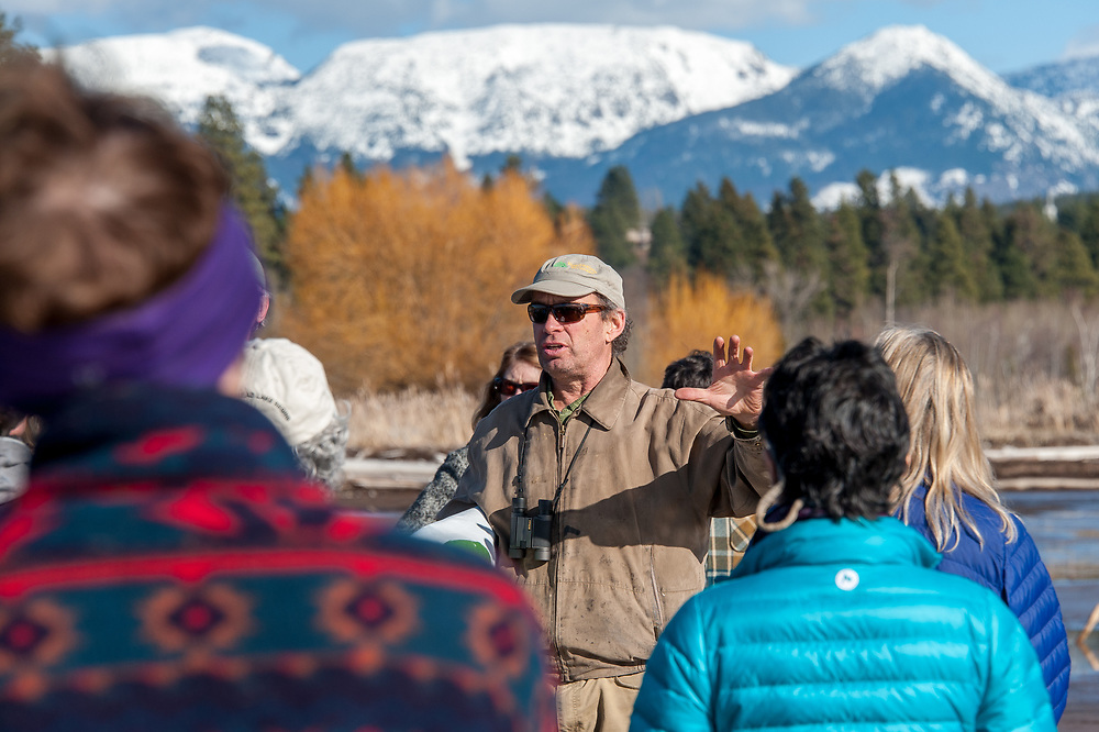 Dave Hadden, Chair of CANSC, brings everyone up to date the legal proceedings at the Stop the Bridge public rally and demonstration on the north shore of Flathead Lake organized by CANSC (Community Association for North Shore Conservation).