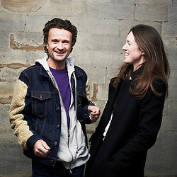 PARIS, FRANCE. MARCH 5, 2012. Clare Waight Keller, the Creative Director of Chloe, with Jerry Stafford at the Jardin des Tuileries, right before their show during Paris Fashion Week. Photo: Antoine Doyen