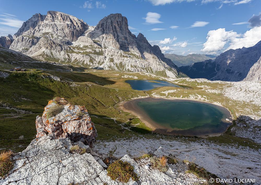 """View on the small lakes """"Laghi dei Piani"""", seen from a hill near the rifugio """"Antonio Locatelli""""."""