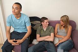 Teenagers in hostel.