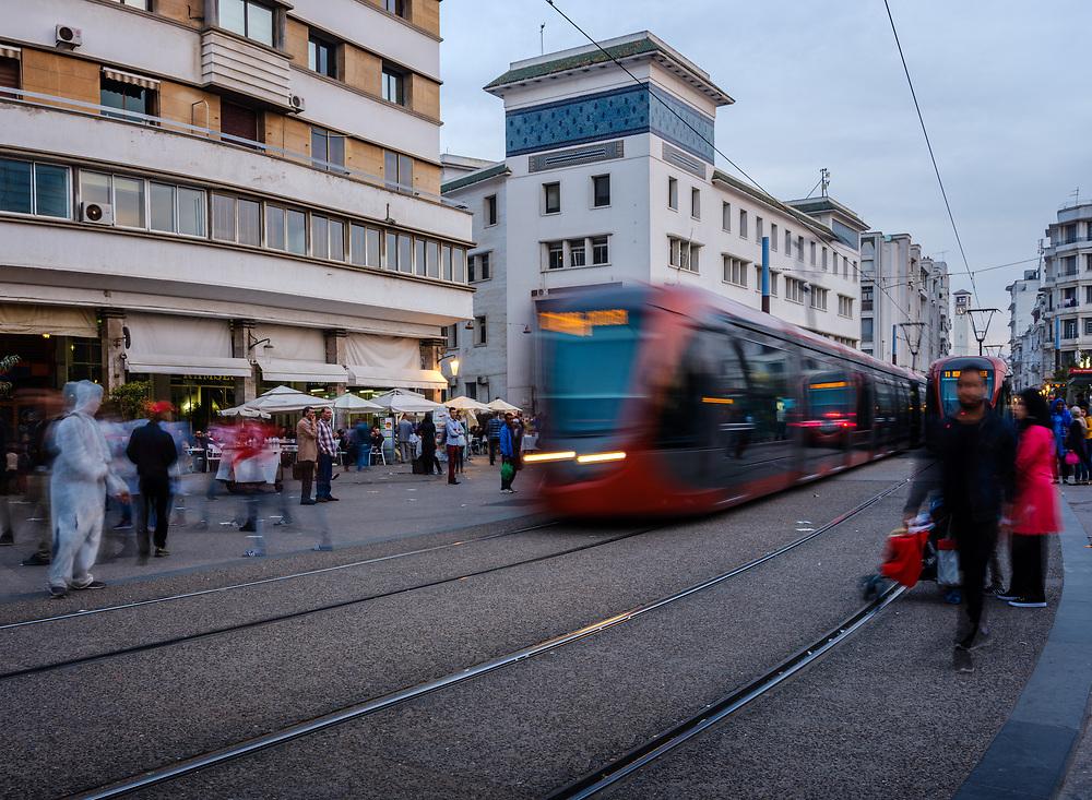 CASABLANCA, MOROCCO - CIRCA APRIL 2017: Tramway in Boulevard Mohammed V  in Casablanca