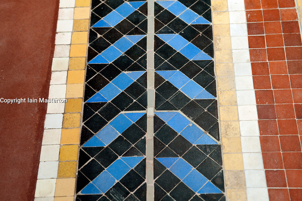 Detail of floor tiles inside the newly renovated Neues Museum on the Museuminsel in central Berlin reopened after many years construction work Architect David Chipperfield March 2009
