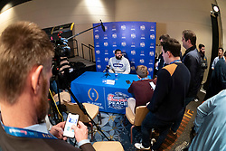 LSU's Rashard Lawrence meets with the media, Monday, Dec. 23, 2019, in Atlanta. LSU will face Oklahoma in the 2019 College Football Playoff Semifinal at the Chick-fil-A Peach Bowl. (Paul Abell via Abell Images for the Chick-fil-A Peach Bowl)