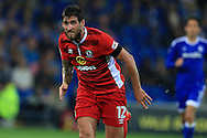 Danny Graham of Blackburn Rovers in action. EFL Skybet championship match, Cardiff city v Blackburn Rovers at the Cardiff city stadium in Cardiff, South Wales on Wednesday 17th August 2016.<br /> pic by Andrew Orchard, Andrew Orchard sports photography.