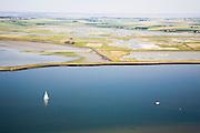 Nederland, Zeeland, Schouwen-Duiveland, 04-07-2006; natuurreservaat Schelphoek (direkt ten Zuiden van Serooskerke);  gezien vanuit de Oosterschelde, het water hier voor de kust heet Hammen; midden rechts: een inlaag: stuk land, vaak drassig, tussen een zeedijk en een vlak daarachter 'reserve' dijk; waterbeheer, kustverdediging, milieu, landschap, natuur, waterbouw, waterwerk; luchtfoto (toeslag); aerial photo (additional fee required); .foto Siebe Swart / photo Siebe Swart