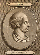 Solon (c640-559 BC) Greek lawyer, poet and merchant. Engraving from a likeness engraved on a gem.