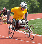 West Point, New York - Army's Matthew Spang leads in the wheelchair 1,500-meter race at the 2014 Army Warrior Trials at the United States Military Academy Preparatory School on Tuesday, June 17, 2014.<br /> Hosted by the U.S. Army Warrior Transition Command (WTC), the trials determine which athletes will compete at the 2014 Warrior Games this fall in Colorado Springs, Colorado.