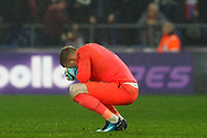 Jordan Pickford of Everton is dejected after conceding a second goal. Premier League match, Crystal Palace v Everton at Selhurst Park in London on Saturday 18th November 2017.<br /> pic by Steffan Bowen, Andrew Orchard sports photography.