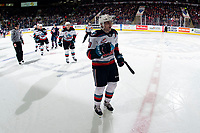 KELOWNA, BC - MARCH 7: Matthew Wedman #20 of the Kelowna Rockets skates to the bench to celebrate a goal against the Lethbridge Hurricanes  at Prospera Place on March 7, 2020 in Kelowna, Canada. (Photo by Marissa Baecker/Shoot the Breeze)