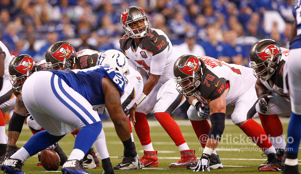 INDIANAPOLIS, IN - NOVEMBER 29 : Jameis Winston #3 of the Tampa Bay Buccaneers calls the signals as the line against the Indianapolis Colts at Lucas Oil Stadium on November 29, 2015 in Indianapolis, Indiana. Indianapolis defeated Tampa Bay 25-12. (Photo by Michael Hickey/Getty Images) *** Local Caption *** Jameis Winston