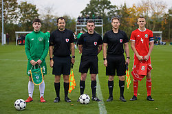 WREXHAM, WALES - Wednesday, October 30, 2019: Republic of Ireland's captain Darragh Reilly (L) and Wales' captain Zak Williams (R) with referee John Jones (C) and assistants Richard Dolphin and Luke Allsop before the 2019 Victory Shield match between Wales and Republic of Ireland at Colliers Park. (Pic by David Rawcliffe/Propaganda)