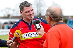 Number 8 James Phillips is interviewed after Bristol win the match 16-45 to take a 29 point lead into the 2nd leg at Ashton Gate - Mandatory byline: Rogan Thomson/JMP - 01/05/2016 - RUGBY UNION - Goldington Road - Bedford, England - Bedford Blues v Bristol Rugby - Greene King IPA Championship Play Off Semi Final 1st Leg.