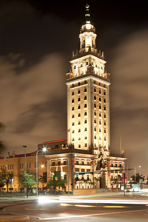 Miami. Florida, United States - Night view of Freedom Tower, memorial to Cuban immigration.