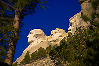 Faces of George Washington, Thomas Jefferson and Abraham Lincoln, Mount Rushmore National Memorial, Black Hills, South Dakota USA