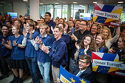 May 26, 2019 - Berlin, Germany - CDU Supporters during the CDU European election party on May 26, 2019 at the Konrad-Adenauer house in Berlin, Germany. Top candidate Manfred Weber, Annegret Kramp-Karrenbauer (CDU federal chairwomen) and Markus Söder (Bavarian Minister-president) attended in front of the press and party members. (Credit Image: © David Speier/NurPhoto via ZUMA Press)