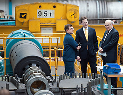 RE-ISSUE NOTE THIS IS A TODAY PICTURE © London News Pictures. 10/03/2012. Newcastle, UK. Liberal Democrat leader NICK CLEGG and Business Secretary VINCE CABLE speaking to a craft apprentice  at Siemens Energy Service Training Centre in Newcastle Upon Tyne on March 11th 2012. The Liberal Domocrat Spring Conference is being held in Newcastle this weekend. Photo credit : Ben Cawthra/LNP