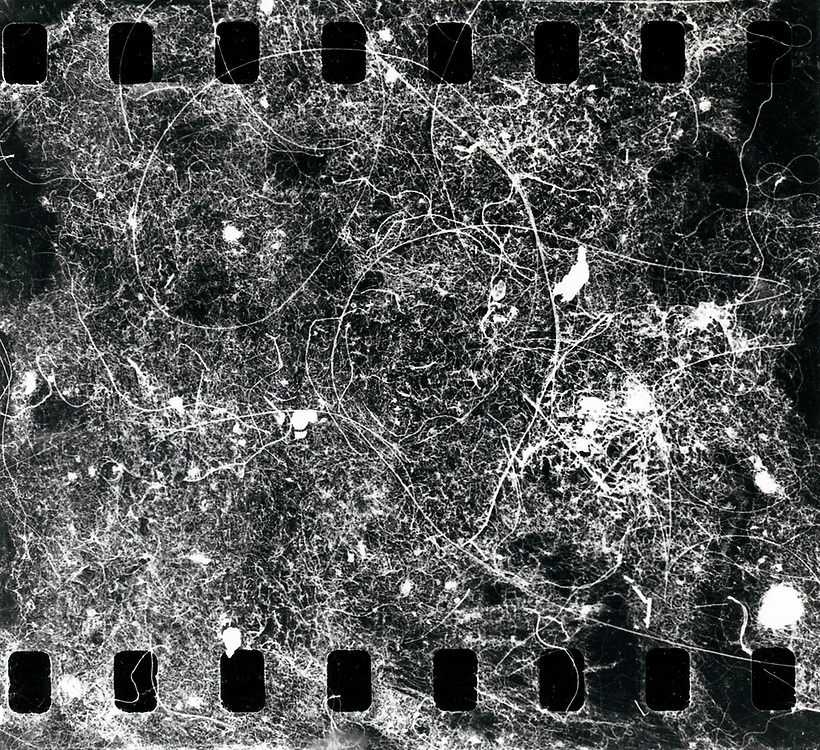 Störstellen. Erste konsequente Flusen-Fotografie, schwarzweiß-Negativfilm auf Barytpapier vergrößert;<br /> Motivgröße 15 cm x 14 cm <br /> 1990 <br /> <br /> © Frank-Udo Tielmann