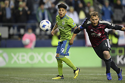 November 8, 2018 - Seattle, Washington, U.S - RAUL RUIDIAZ (9) watches his shot on goal get by the Timbers keeper JEFF ATTINELLA (1) as the Portland Timbers visit the Seattle Sounders in a MLS Western Conference semi-final match at Century Link Field in Seattle, WA. (Credit Image: © Jeff Halstead/ZUMA Wire)