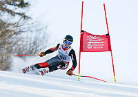 Timothy Haarmann competes for the Gunstock Ski Club in the U14's during the annual Gus Pitou Memorial Giant Slalom on Sunday.  (Karen Bobotas/for the Laconia Daily Sun)