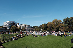 Edinburgh Climate Change Protest March<br /> <br /> Thursday, 19th September 2019<br /> <br /> Pictured: Marchers make their way from the Meadows to the Scottish Parliament and some cool off in the pond outside<br /> <br /> Alex Todd | Edinburgh Elite media