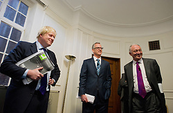 London Mayor Boris Johnson (left) with the other Mayoral Candidates Brian Paddick (Lib Dems) and Ken Livingstone (labour) meet in the green room moments before going on stage, London, Wednesday April 11, 2012. Photo By Andrew Parsons/i-Images