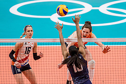 20-08-2016 BRA: Olympic Games day 15, Rio de Janeiro<br /> Het brons zou zijn begroet als was het goud. Maar zo ver kwam het niet voor de Nederlandse volleybalsters. In de strijd om de derde plaats van de Olympische Spelen was wereldkampioen Amerika gewoonweg te sterk (23-25, 27-25, 22-25 en 19-25) Lonneke Sloetjes #10