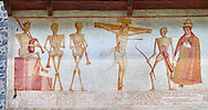 """Crucifiction fresco on the Church of San Vigilio in Pinzolo, part of its mural painting """"the Dance of Death"""" painted by Simone Baschenis of Averaria in1539, Pinzolo, Trentino, Italy.<br /> <br /> The mural continues for another 21 meters with a long procession with 40 figures.<br /> <br /> The Mural opens on its left with a skeleton on the throne, bearing a sceptre and the crown and playing a bagpipe. These skeletons are playing the music which is the backdrop to """"Dance of Death"""" ( Danza macabra ) and suggests that they are playing with our fate on earth.<br /> <br />  To the right of the skeletons playing music is a depiction of the crucification. Christ is depicted on the cross with an arrow in him that has been fired by a skeleton with a bow. This suggests that because Christ was a man he suffered the fate of death as we all will.<br /> After Christ is a Pope also pierced by a spear, as are all the human figures in the mural. .<br /> <br /> Visit our MEDIEVAL ART PHOTO COLLECTIONS for more   photos  to download or buy as prints https://funkystock.photoshelter.com/gallery-collection/Medieval-Middle-Ages-Art-Artefacts-Antiquities-Pictures-Images-of/C0000YpKXiAHnG2k<br /> If you prefer to buy from our ALAMY PHOTO LIBRARY  Collection visit : https://www.alamy.com/portfolio/paul-williams-funkystock/san-vigilio-pinzolo-dance-of-death.html"""