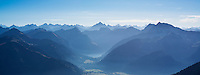 View from Aggenstein (1987m) across Tannheimer Tal and Austrian Alps, Allgäu, Bavaria, Germany